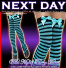HALLOWEEN FANCY DRESS # BLACK / BLUE STRIPED STOCKINGS WITH BOW